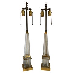 Mid-Century Modern Pair of Art Glass Crystal Pyramid Brass Bronze Obelisk Lamps