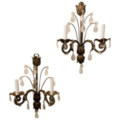Mid-Century Modern Baguès French Rock Crystal Leaf Flower Crystal Sconces, Pair