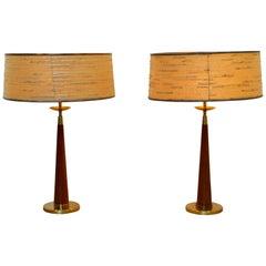 Mid-Century Modern Pair Brass Table Lamps 1960s Thurston Lightolier Style