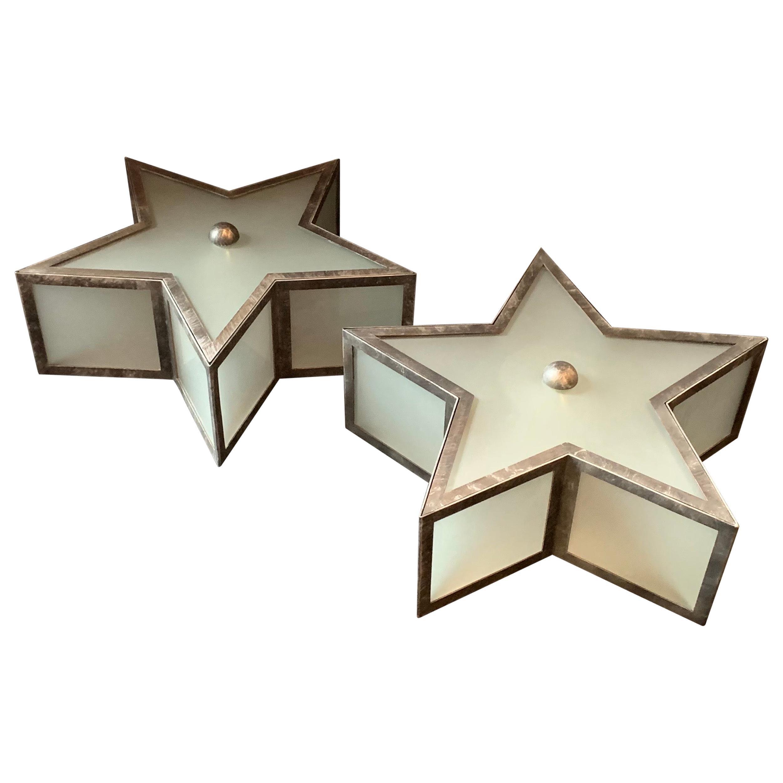 Mid-Century Modern Pair Bronze Silver Gilt Star Glass Flush Mount Light Fixtures