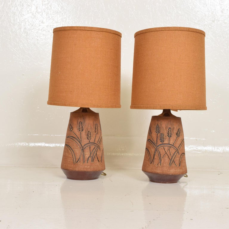 For your consideration, a pair ceramic table lamps by Wishon Harrell. The USA, circa 1970s. Dimensions: 15