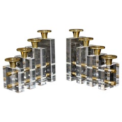 Mid-Century Modern Pair Charles Hollis Jones Lucite Brass Candle Holders, 1970s