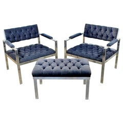 Mid-Century Modern Pair of Chrome Lounge Chairs Harvey Probber Ottoman Bench