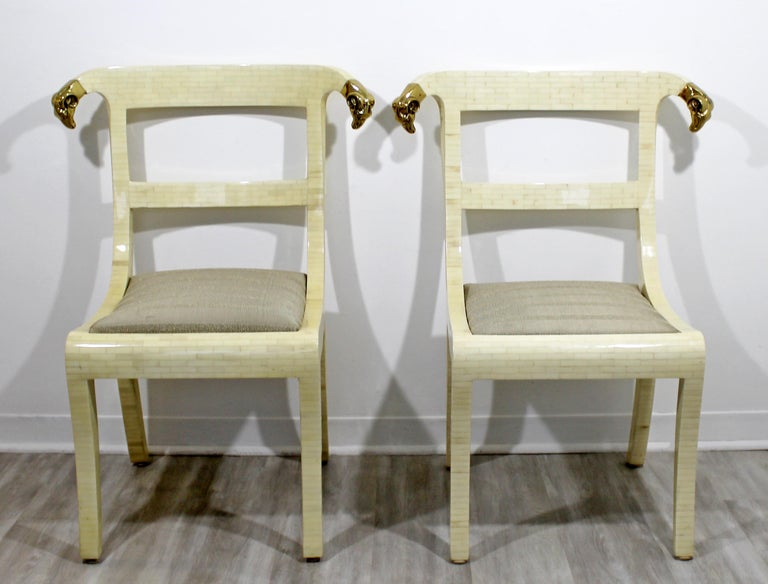 Colombian Mid-Century Modern Enrique Garcel Tessellated Stone Brass Rams Head Chairs, Pair For Sale