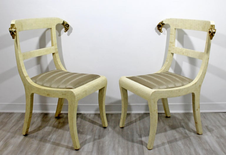 Mid-Century Modern Enrique Garcel Tessellated Stone Brass Rams Head Chairs, Pair In Good Condition For Sale In Keego Harbor, MI