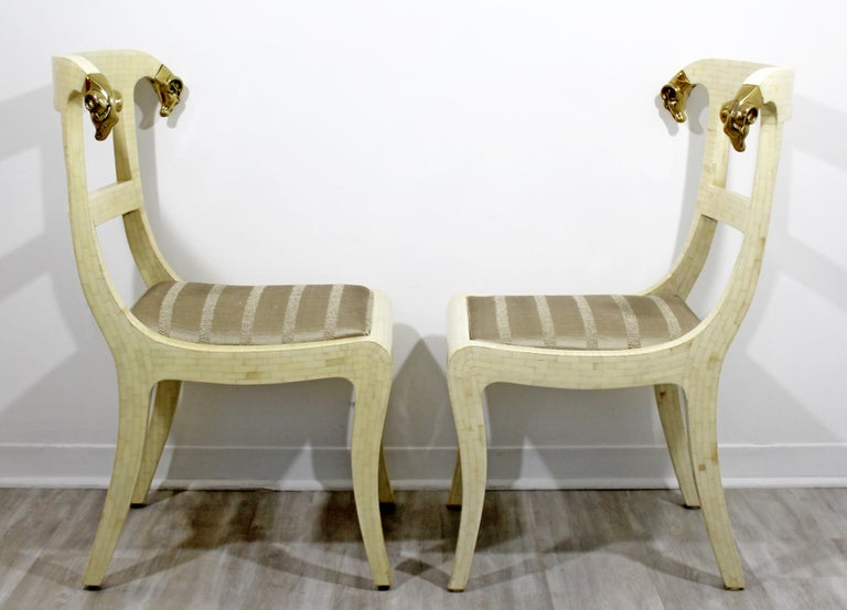 Late 20th Century Mid-Century Modern Enrique Garcel Tessellated Stone Brass Rams Head Chairs, Pair For Sale