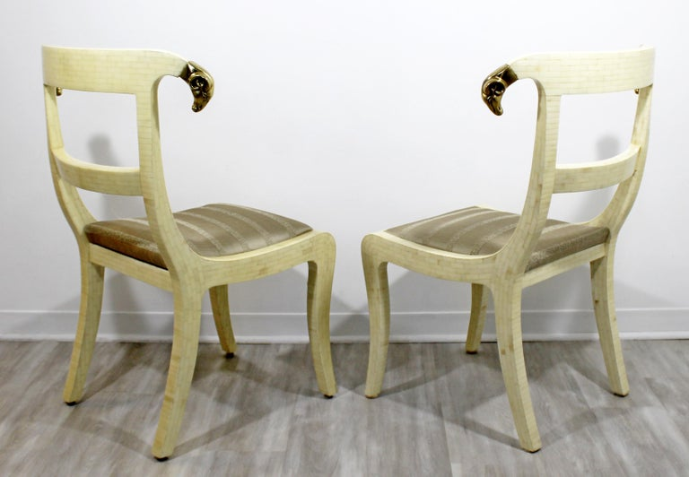 Mid-Century Modern Enrique Garcel Tessellated Stone Brass Rams Head Chairs, Pair For Sale 1