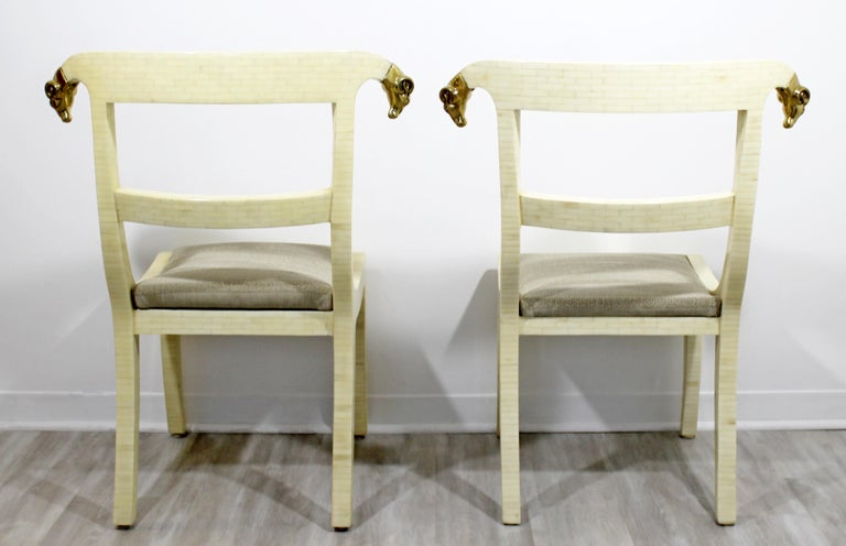Mid-Century Modern Enrique Garcel Tessellated Stone Brass Rams Head Chairs, Pair For Sale 2