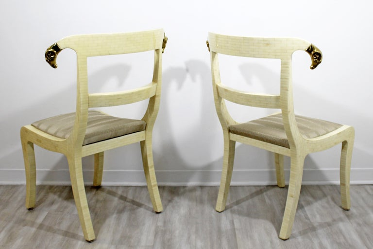 Mid-Century Modern Enrique Garcel Tessellated Stone Brass Rams Head Chairs, Pair For Sale 3