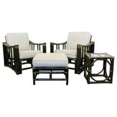 Mid-Century Modern Pair of Ficks Reed Patio Lounge Chairs Ottoman and Side Table