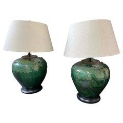 Mid-Century Modern Pair Green Drip Glaze Ceramic Table Lamps, 1960s