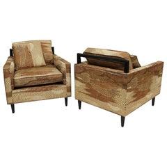 Mid-Century Modern Pair Harvey Probber Style Club Lounge Chairs