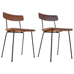Mid-Century Modern Pair of A.Cordemeyer Chairs in Brown Plywood, 1959 Gispen