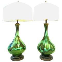 Mid-Century Modern Pair of American Ceramic Drip Glaze & Brass Lamps