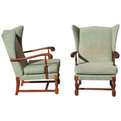 Mid-Century Modern Pair of Armchairs High Back the Arms Carved Wood Mahogany