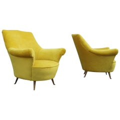 Mid-Century Modern Pair of Armchairs Yellow Color ISA Bergamo Design Brass Feet