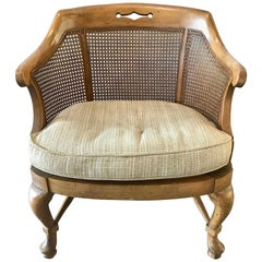 Mid-Century Modern Pair of Barrel Back Caned Armchairs