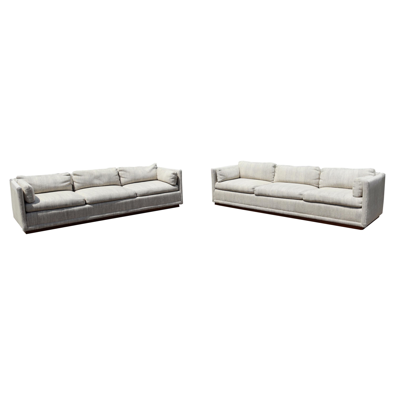 Mid-Century Modern Pair of Baughman Plinth Base Sofa Knoll Upholstery