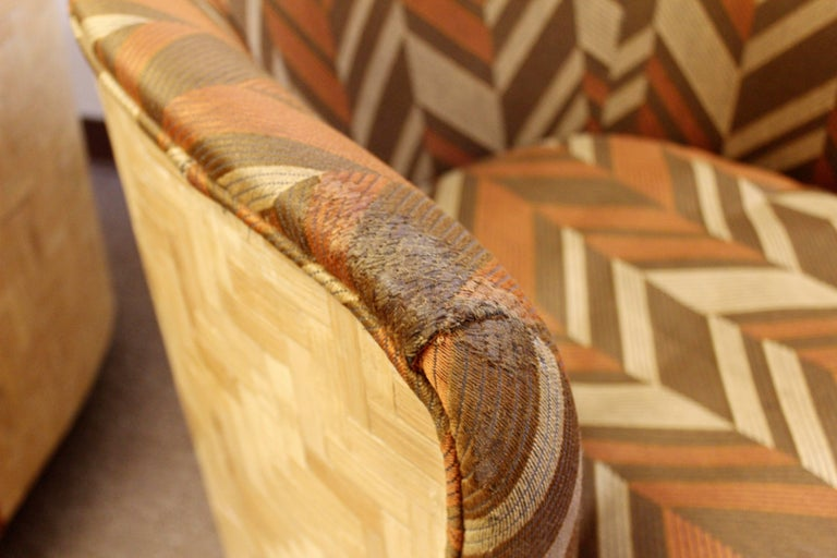 Mid-20th Century Mid-Century Modern Pair of Baughman Thayer Coggin Wood Club Barrel Swivel Chairs For Sale
