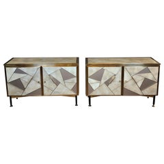 Mid-Century Modern Pair of Beige & Grey Artistic Murano Glass & Brass Sideboards