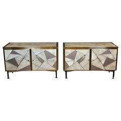 Mid-Century Modern Pair of Beige & Grey Artistic Murano Glass & Brass Sideboards