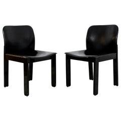 Mid-Century Modern Pair of Black Leather & Wood B&B Italia Side Chairs, 1970s