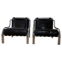 "Mid-Century Modern Pair of Black ""Stringa"" Armchairs Designed by Gae Aulenti"