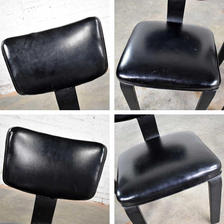 Mid-Century Modern Pair of Black Thonet Bentwood and Vinyl Chairs For Sale 6