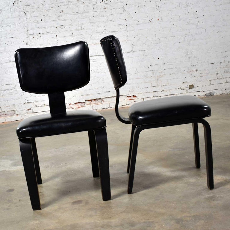 Painted Mid-Century Modern Pair of Black Thonet Bentwood and Vinyl Chairs For Sale