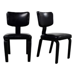Mid-Century Modern Pair of Black Thonet Bentwood and Vinyl Chairs