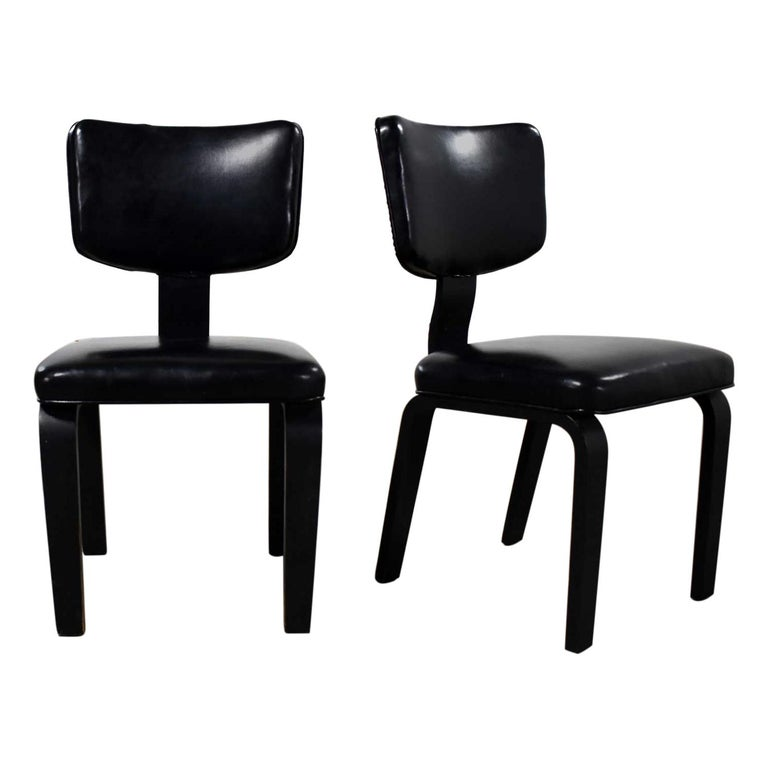 Mid-Century Modern Pair of Black Thonet Bentwood and Vinyl Chairs For Sale