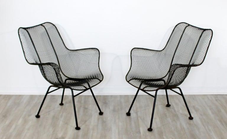 Mid-20th Century Mid-Century Modern Pair of Black Woodard Sculptura Outdoor Patio Armchairs 1950s For Sale