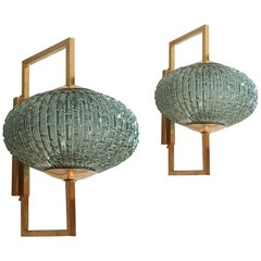 Mid-Century Modern Pair of Blue/Green Murano Glass & Brass Sconces