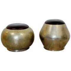 Mid-Century Modern Pair of Brass and Leather Poufs Stools, 1960s