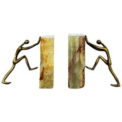 Mid-Century Modern Pair of Brass Figures and Marble Bookends Sculptures, 1960s