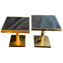 Mid-Century Modern Pair of Bronze Beveled Mirror Telescoping Square Side Table