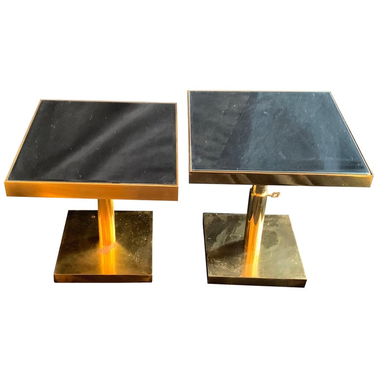 Mid-Century Modern Pair of Bronze Beveled Mirror Telescoping Square Side Table For Sale