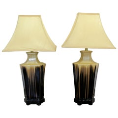 Mid-Century Modern Pair of Brown Drip Glaze Ceramic Table Lamps, 1960s