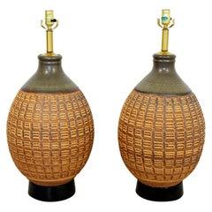 Mid-Century Modern Pair of Ceramic Table Lamps Bob Kinzie Affiliated Craftsmen