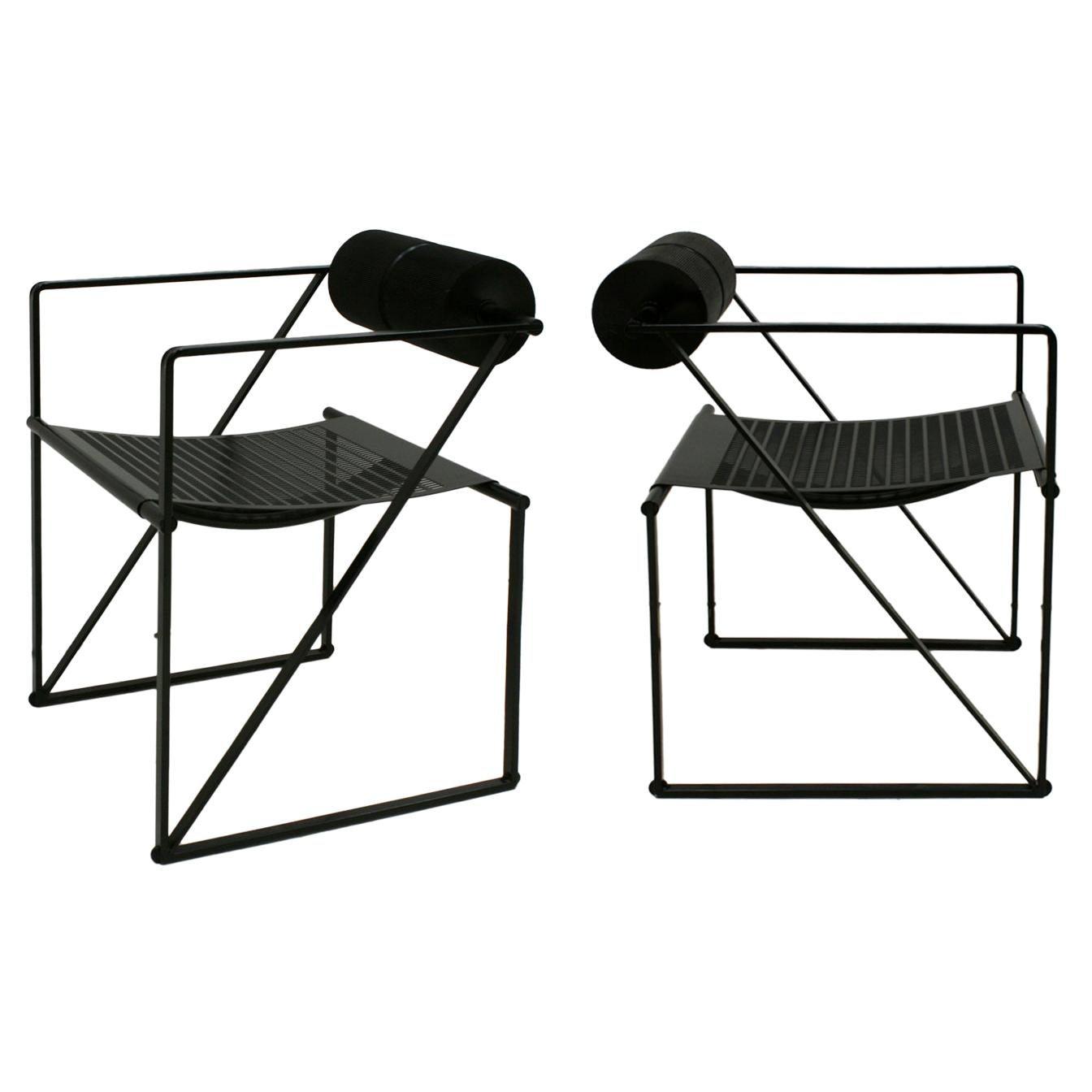"Mid-Century Modern Pair of Chairs Mod ""Seconda"" Designed by Mario Botta, 1982"