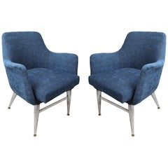 Mid-Century Modern Pair of Blue Chairs with Chrome Base and Legs