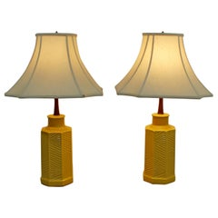 Mid-Century Modern Pair of Chinoiserie Yellow Ceramic Table Lamps Asian Shades
