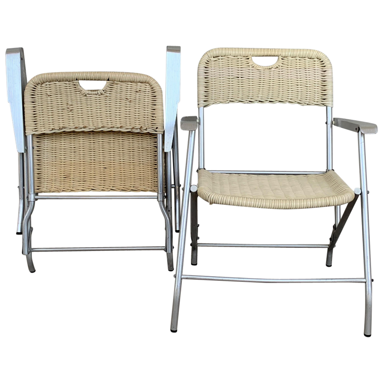 Mid-Century Modern Pair of Coated Cane and Aluminium Folding Armchairs