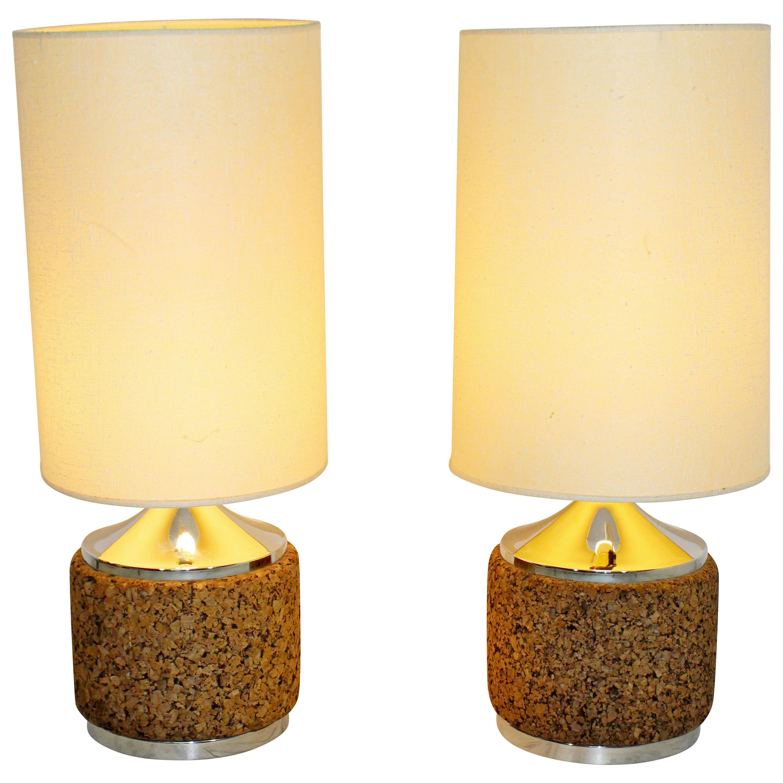 Pair Of Cork Chrome Table Lamps Orig