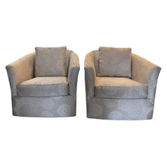 Mid-Century Modern Pair of Craftmaster Swivel Chairs with Barrel Back