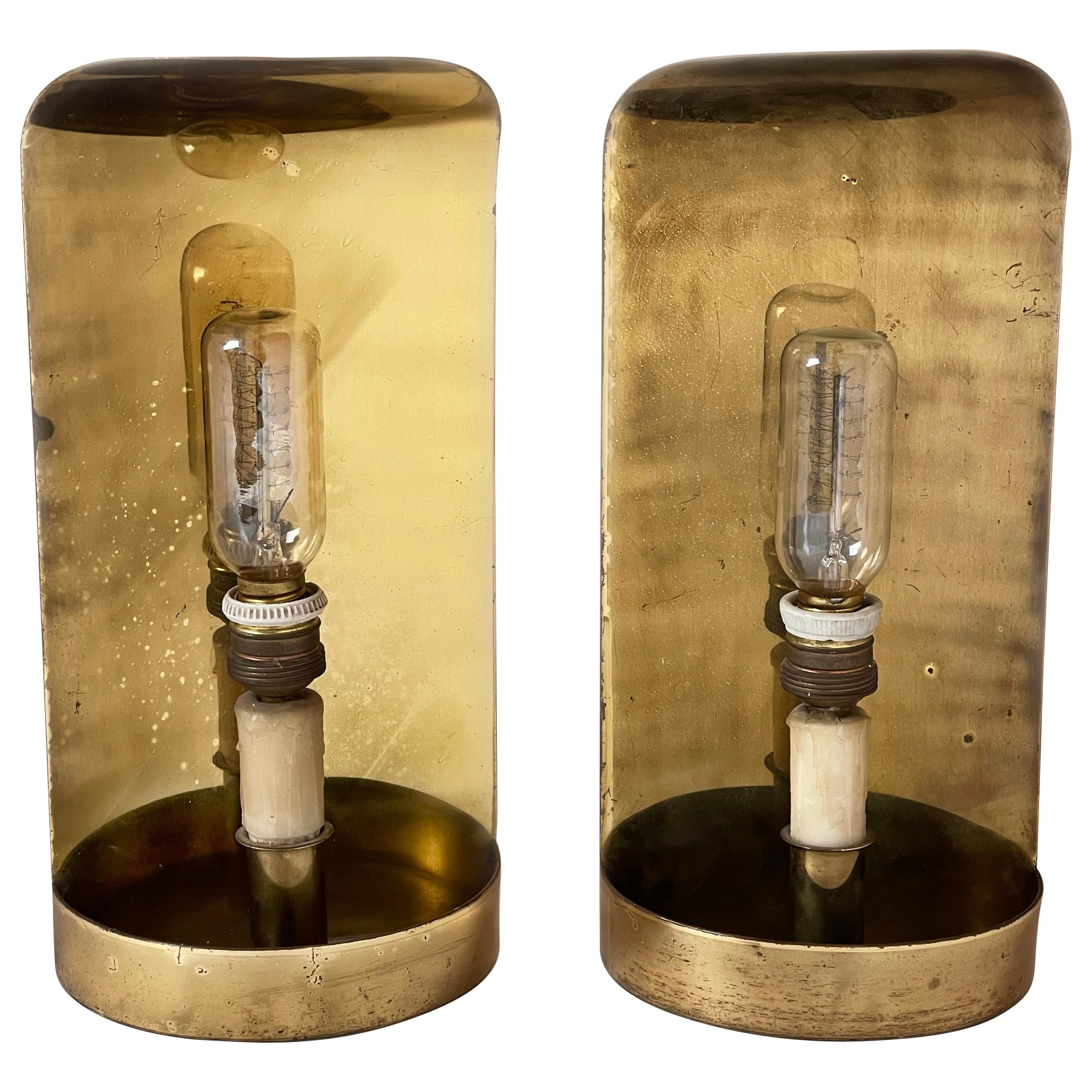 Mid-Century Modern Pair of Curved Brass Sconces