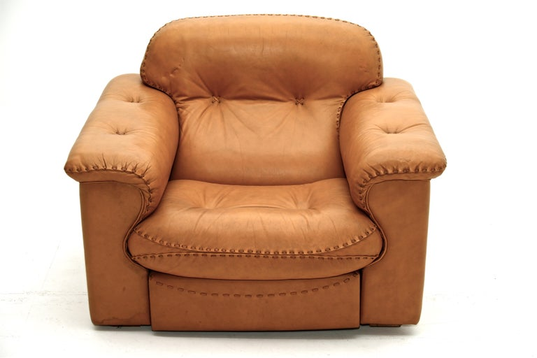 Mid-Century Modern De Sede natural cognac leather lounge chair model