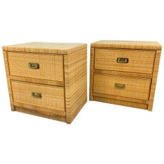 Mid-Century Modern Pair of Dixie Wicker Nightstands Cabinets Nightstands