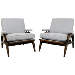 Mid-Century Modern Pair of Dunbar Style Wood Lounge Armchairs, 1960s