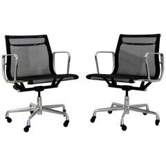 Mid-Century Modern Pair of Eames Aluminum Herman Miller Anniversary Chairs